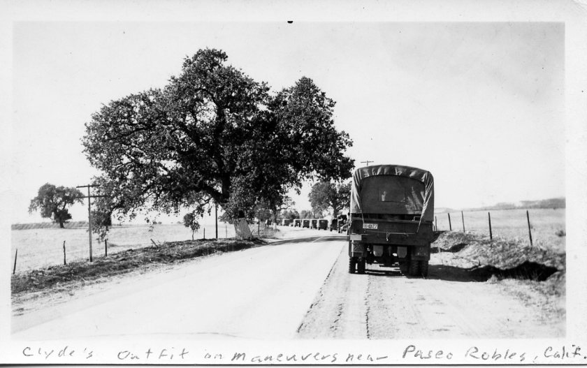 Army convoy in California