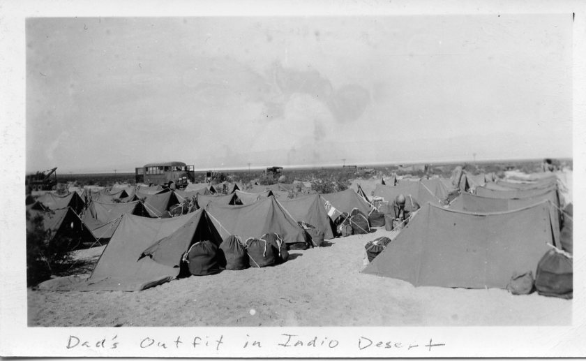 Sleeping quarters on maneuvers in Indio desert, California