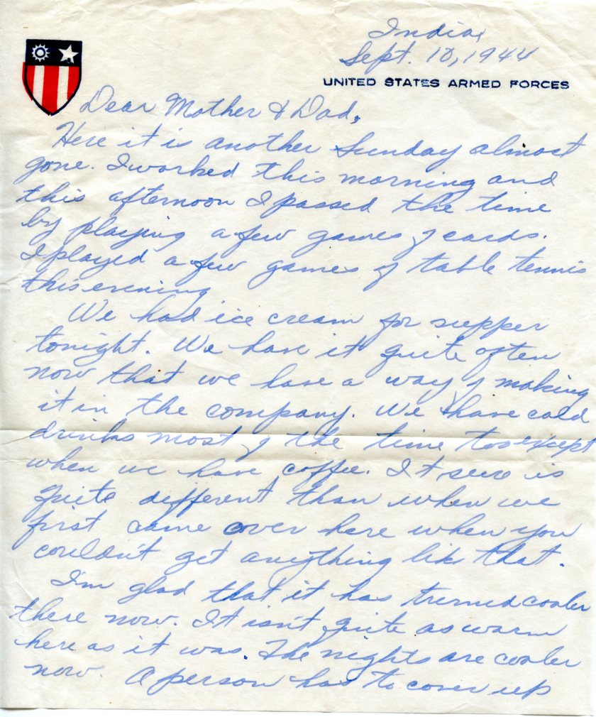 Sept. 10, 1944 Letter from India (2)
