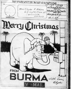 V-Mail Christmas Card to Mom from Burma 1844