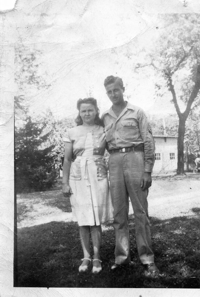 Clyde & Dorothy Adam at Chesterfield in 1945 after war.